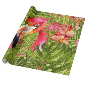 Pink Flamingo in Palm and Monstera Jungle Wrapping Paper