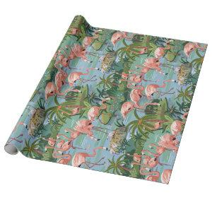 Pink Flamingo Lagoon Paint by Number Wrapping Paper