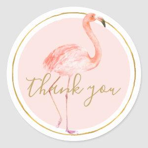 Pink Flamingo Thank you Classic Round Sticker