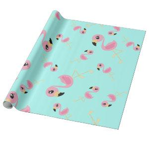 Pink Flamingo Tropical Cute 1st Birthday Wrapping Paper