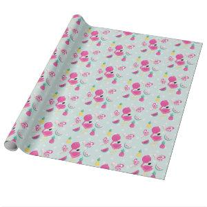 Pink Flamingo with Watermelon & Pineapples Wrapping Paper