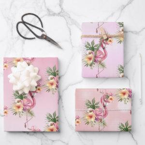 Pink Flamingos Exotic Flowers Wrapping Paper Sheets