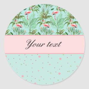 Pink Flamingos Polka Dots Classic Round Sticker