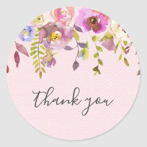 Pink floral girl baby shower thank you favor classic round sticker