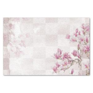 Pink Floral on Checkerboard Pattern Tissue Paper