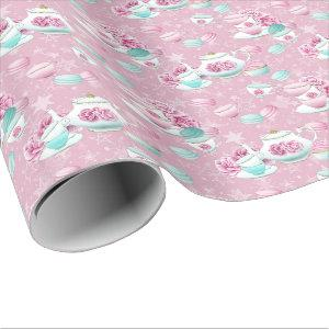 Pink floral tea party wrap wrapping paper