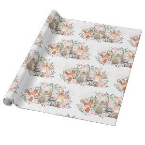Pink Floral Woodland Baby Animals Birthday Shower Wrapping Paper