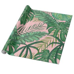 Pink Foliage Tropical Monstera Leaves party Wrapping Paper