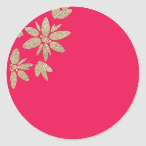 Pink fuchsia invitation with gold sparkle flowers classic round sticker