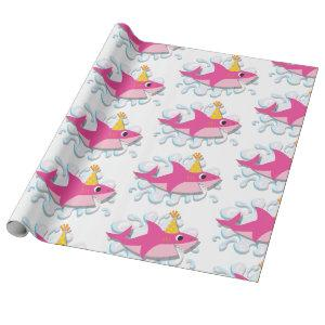 Pink girl shark baby wrapping paper