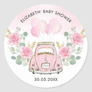 Pink Gold Floral Adventure Travel Drive By Favors Classic Round Sticker