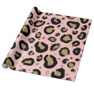 Pink Gold Glitter & Black Leopard Cheetah Print Wrapping Paper