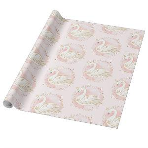Pink Gold Swan Princess Baby Shower Birthday Party Wrapping Paper