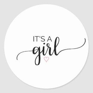 Pink Heart | Black Calligraphy It's A Girl Favor Classic Round Sticker