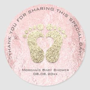 Pink  Heart Feet Baby Shower Favor Thank You Gray Classic Round Sticker