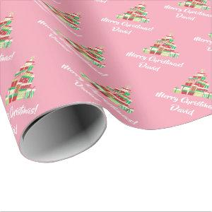 Pink Merry Christmas Tree wrapping paper