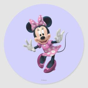 Pink Minnie | Hands Out Classic Round Sticker