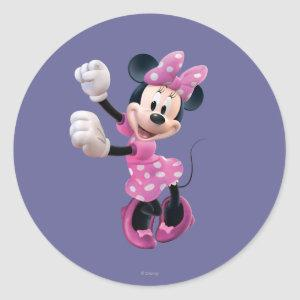 Pink Minnie | Hands Up and Dancing Classic Round Sticker