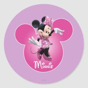 Pink Minnie | Mickey Head Icon Classic Round Sticker
