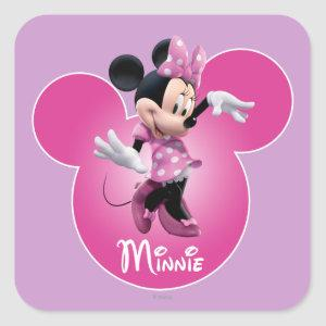 Pink Minnie | Mickey Head Icon Square Sticker
