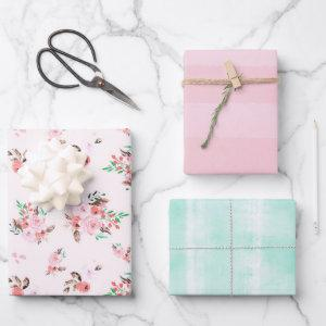Pink & Mint Watercolor Floral and Subtle Stripes  Sheets