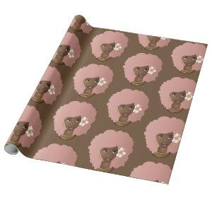 Pink Natural Hair Beauty with Flower, Brown Wrapping Paper