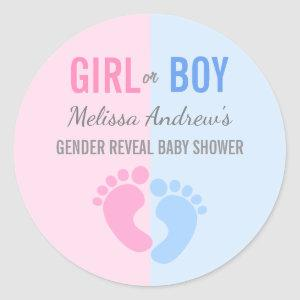Pink or Blue Gender Reveal Baby Shower Stickers