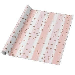Pink Painted Stripes & Gold Confetti Pattern Wrapping Paper