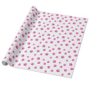 Pink Paw Prints Pattern Wrapping Paper