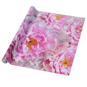 Pink Peony Summer Floral Bouquet Wrapping Paper