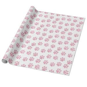 pink pet paw print pattern wrapping paper