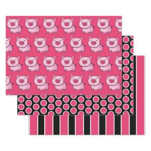 Pink Pig Dots & Stripes Wrapping Paper Sheet Set