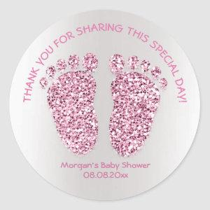 Pink Purple Feet Baby Shower Favor Thank You Girl Classic Round Sticker