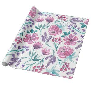 Pink Purple Teal Watercolor Flowers Pattern Wrapping Paper