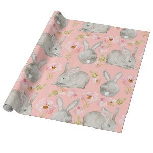 Pink. Rabbits and Flowers. Wrapping Paper