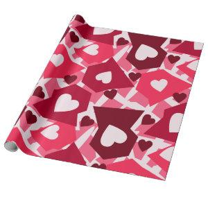 Pink & Red Hearts Valentines Day Wrapping Paper