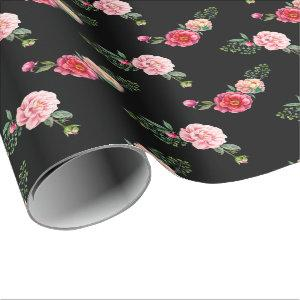 Pink Red Roses Vintage Floral on Black Pattern Wrapping Paper