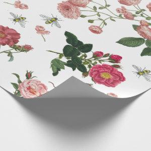 Pink Rose Flowers and Bees Vintage Floral Wrapping Paper