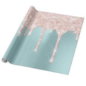 Pink Rose Girly  Blush Spark Tiffany Drips Glitter Wrapping Paper