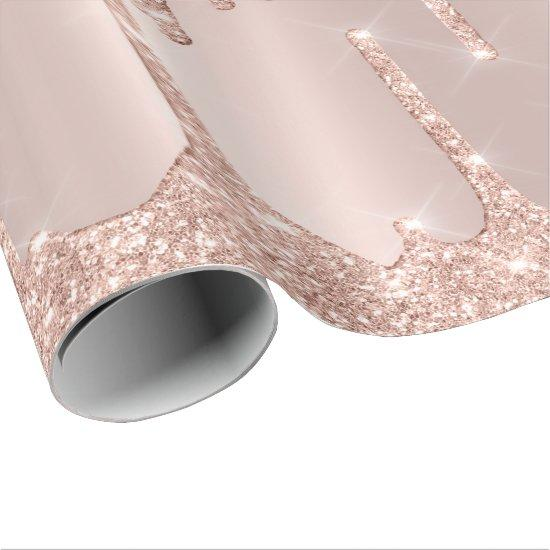 Pink Rose Gold Blush Spark Powder Drips Glam Lux Wrapping Paper