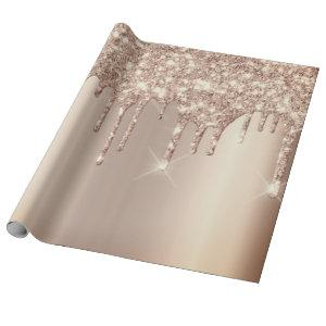 Pink Rose Gold Blush Spark Powder Drips Glitter Wrapping Paper