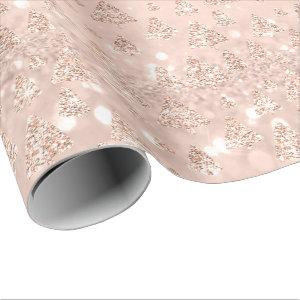 Pink Rose Gold Glitter Christmas Tree Holidays Wrapping Paper