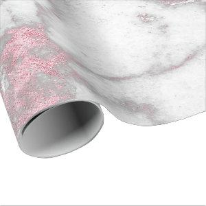 Pink Rose White Silver Gray Carrara Marble Stone Wrapping Paper