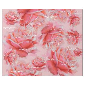 pink roses & name, romantic floral pattern wrapping paper