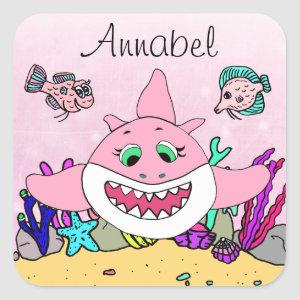Pink Shark Personalized Square Sticker