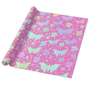 pink , silver,butterfly, metal, decoration, design wrapping paper