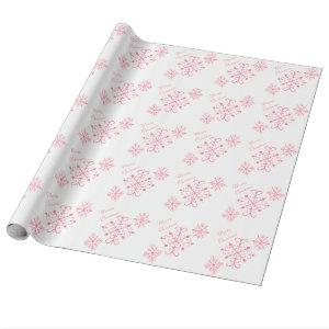 Pink Snowflakes Christmas Wrapping Paper