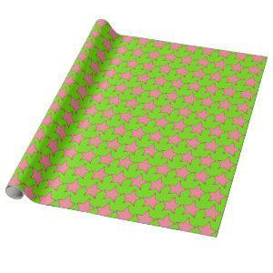 Pink Stars Green Wrapping Paper