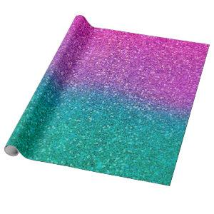Pink Teal Aqua Blue & Purple Sparkly Glitter Wrapping Paper