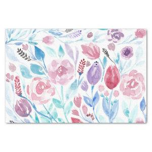 Pink Teal Blue Spring Watercolor Flowers Pattern Tissue Paper
